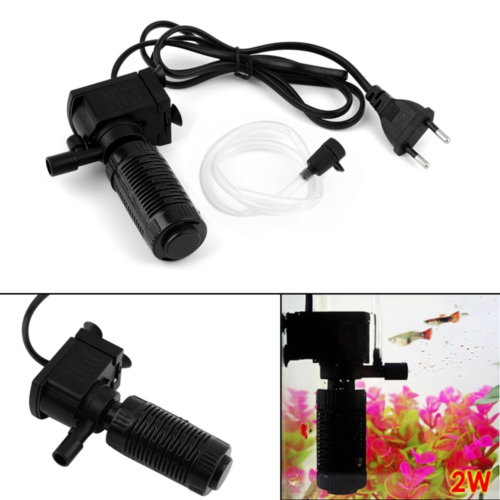 Mini 3 in 1 Aquarium Internen Filter Fish Tank Tauch Pumpe Spray EU