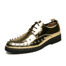 38-44 Rivet Patent Leather Shoes Men Lace Up 2018 Spring Men Shoes Gold  Silver 6e59ef346b10