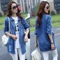 XS-5XL freeshipping mulheres plus size jaqueta jeans 2016 Das Mulheres de tamanho grande versão de médio-longo fino casual denim calça jeans casaco com bolsos