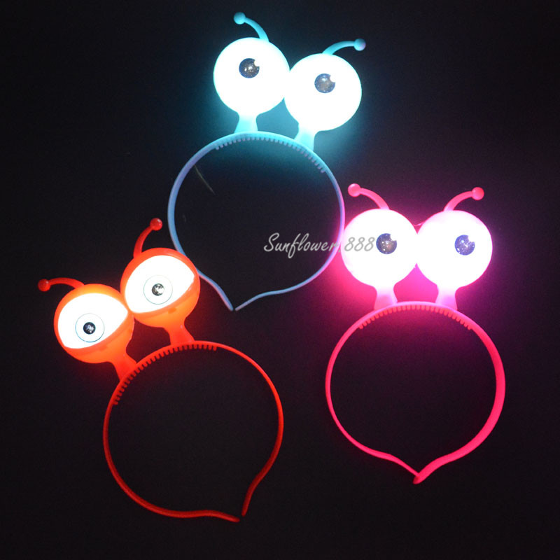 Nya Alien Eyes Ears Light Up Bow Headbands Blinkande LED Party Favoriter Glow Concert Party Supply Bröllopsdekoration Halloween