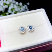 natural 3*4mm sky blue topaz s925 silver round earrings simple fine jewelry for women party Natural blue gemstone