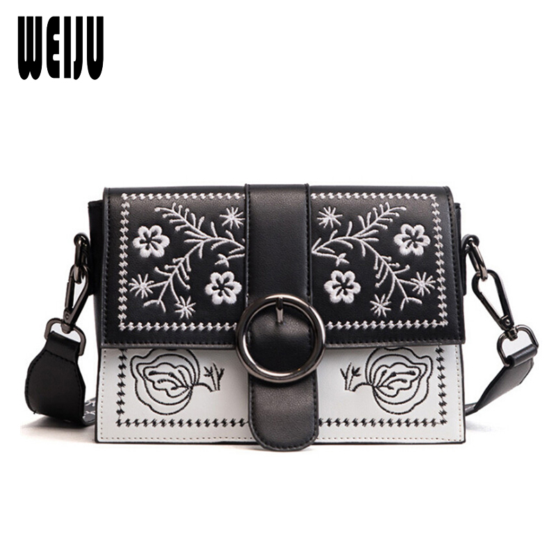 WEIJU Fashion Women PU Leather Messenger Bag Ladies Embroidery Crossbody Bags Women Brands Designers Wide Strap Shoulder Bags