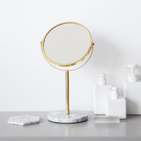 Luxury Marble Base Rose Gold Mirror Makeup Vanity Mirror Home Decor Cosmetic Ladies Office Dormitory Desktop Round Mirror