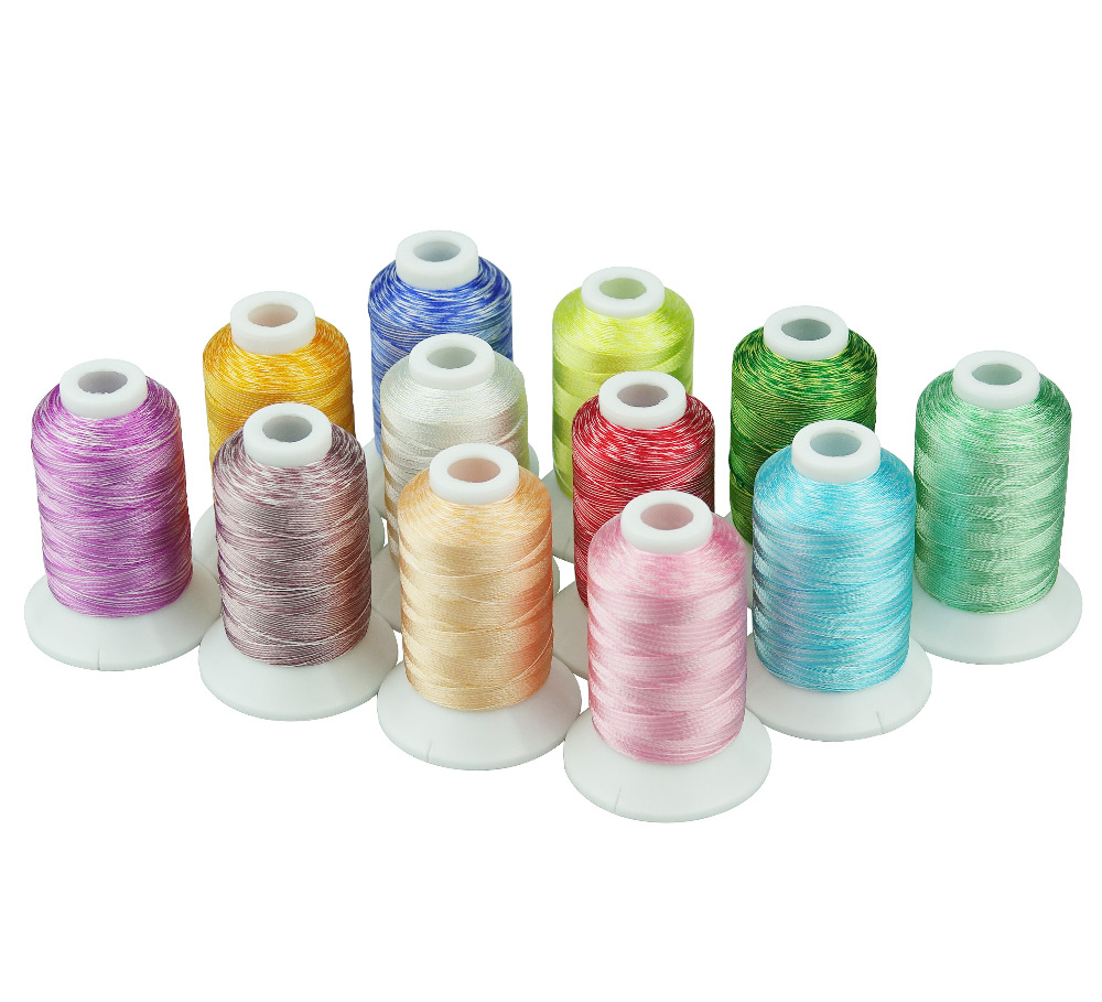 Popular 12 Colors Variegated Rayon Machine Embroidery Thread 120D/2 Free Shipping