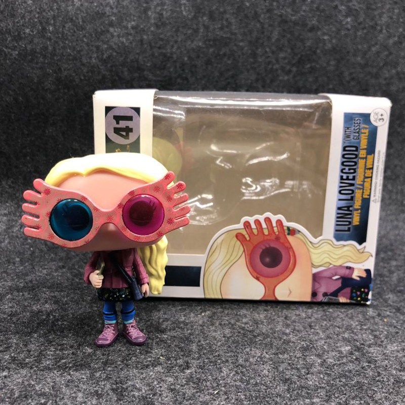 Movie Harry Potter Character Luna Lovegood with Glasses 10cm Vinyl Doll Action Figure Collection Model Toys