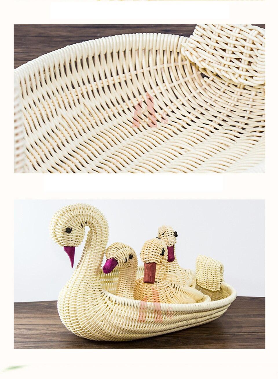 Almacenamiento de la fruta creativa ganso ratán cesta Animal ...