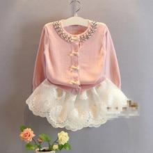 цены New 2016 Baby Girls Cardigan Sweater Fashion Kids Girls Princess Soild Pink/Blue Bow Cardigan Outwear Children Cotton Coat 2-8Y