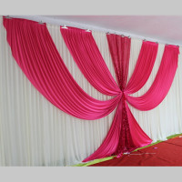 White and Fuchsia Ice Silk Wedding Backdrop 3m*6m(10ft*20ft) Wedding Decorations with Sequins Fabric Stage Backgrond Curtain