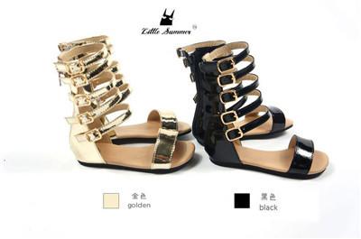 2016 Nuevo Cuero Super Fibra Bebé Recién Nacido Niñas Gladiador Bebé firstwalker zapatos Mocasines moda Zapatos Romanos del zapato antideslizante