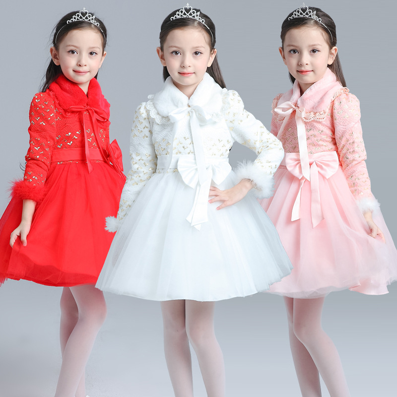 Girls dress 2016 winter velvet children 's Hua Tong Princess New Year' s Day costumes