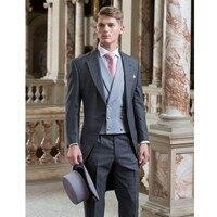 Elegancki Część Frak Groom Smokingi Garnitury Ślubne Dla Mężczyzn Hot Sprzedaży Custom Made Slim Fit Męskie Blazer (kurtka + spodnie + kamizelka) A084
