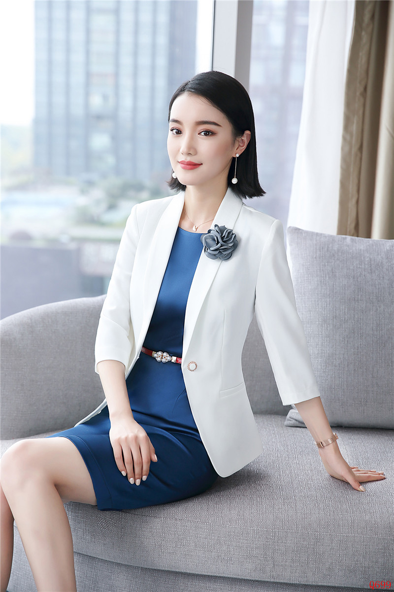 Style Ensembles Ladies Uniforme Mode Work Costumes Robe D'affaires Wear Blanc Et Blazer Femmes Bureau Vestes ZgwHSZpq