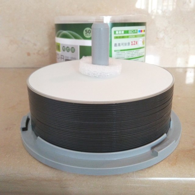 Bd-r 25ギガバイトブルーギガバイトブルーレイディスク全面印刷可能なブルーレイbdr 25ギガバイト12xスピード10ピース/ロット送料無料