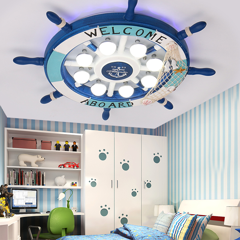 Ceiling Lights & Fans Lights & Lighting Simple Modern Creative Mediterranean Children Room Lamps Boy Bedroom Lamps Led Corsair Lightship Rudder Postage Free