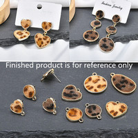 Fashion Leopard Printing Alloy Charms 40pcs/Lot DIYJewelry Findings Gold Tone Alloy Round Heart Oval Pendants Fit Earring Stud