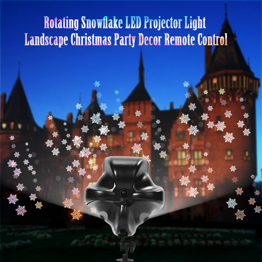Remote Control Projector Light Rotating Snowflake LED Projector Light Landscape Christmas Party Decor Remote Control
