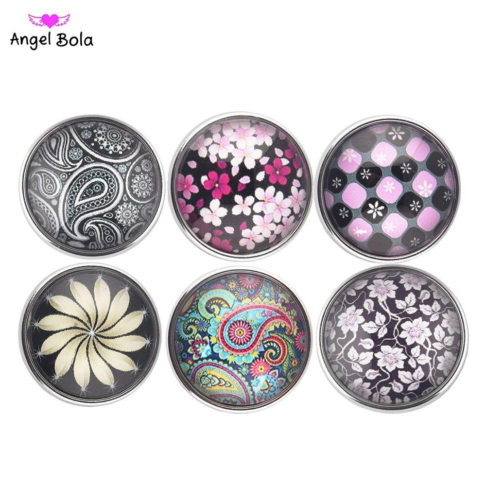 Pryme 10PCS Wholesales Mix Design Glass Snap Button Fit Interchangeable Ginger Snap Button Bangle&Bracelet KG017