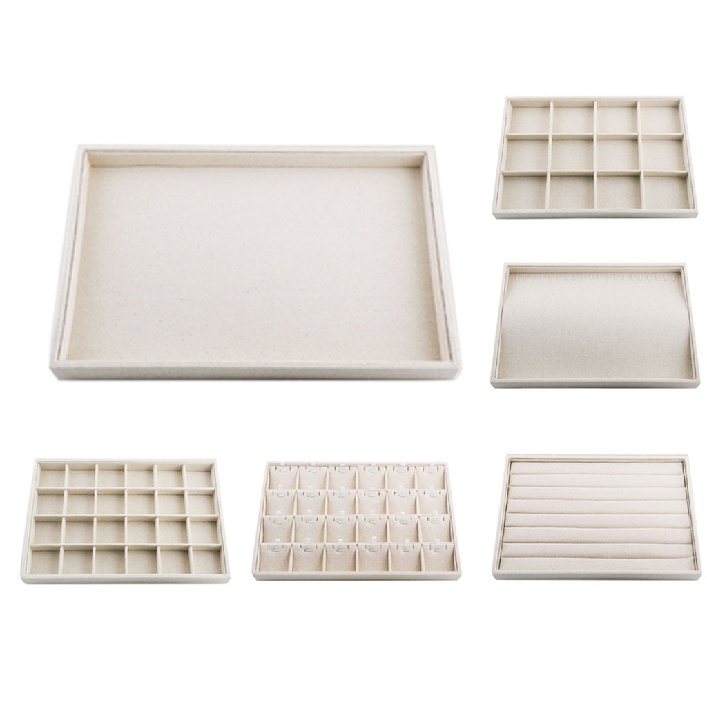 Multifunctional Beige Linen Jewelry Tray Earring Jewelry Display Organizer Case Holder Earring Storage Box for Earings Necklace