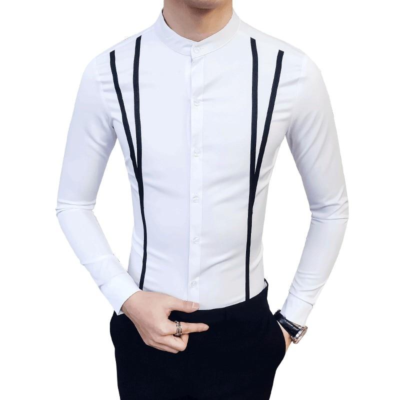 New Spring Fashion Brand Men Clothes Slim Fit Men Long Sleeve Shirt Men Casual Striped Men Dress Shirt Social Plus Size S-5XL