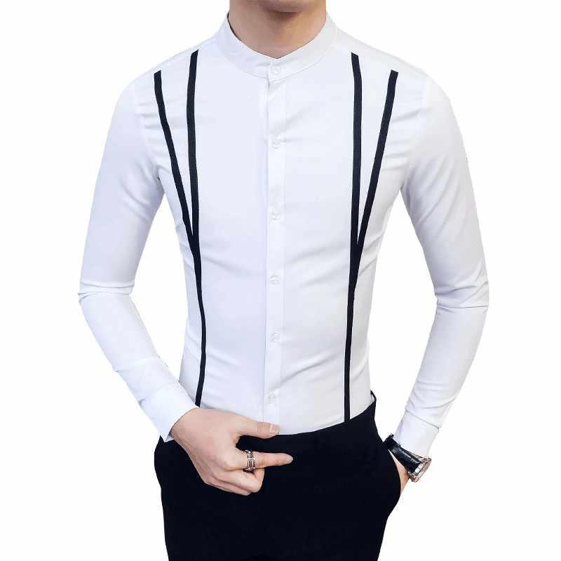 Nueva moda Primavera ropa de hombre de marca Slim Fit hombres camisa de manga larga hombres Casual a rayas hombres vestido camisa Social Plus tamaño S-5XL