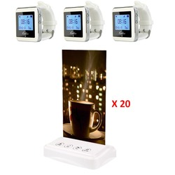 3pcs 433MHz Watch Wrist Receiver +20pcs Table Call Transmitter Button Pager Wireless Restaurant Coffee Shop Calling System