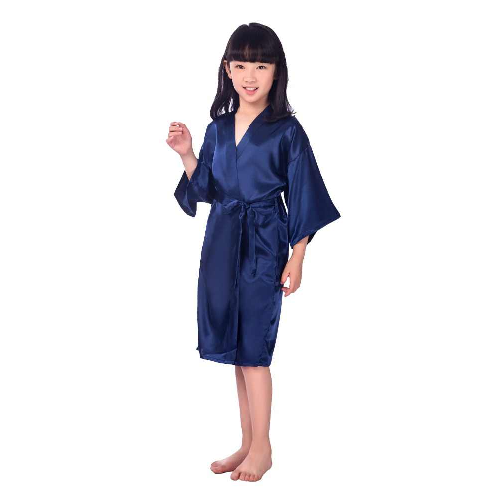 Navy Blue Pyjamas Kids Summer Silk Japanese Kimono Solid Robe Baby Bathrobe Towel Nightgown Girl Pijamas Kids Size M-4XL