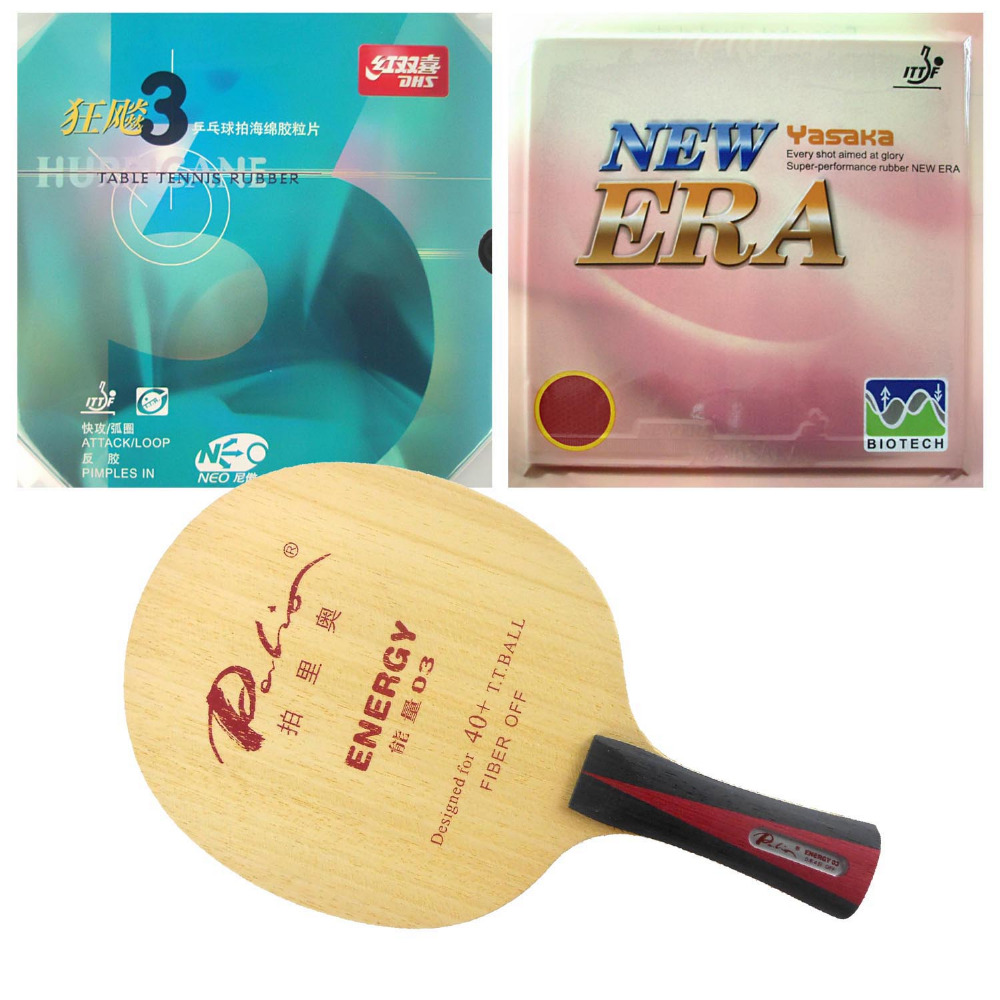 Palio ENERGY 03 Blade with Yasaka NO ITTF ERA 40mm + DHS NEO Hurricane3 Rubbers for a Racket Shakehand long handle FL palio energy 03 blade with dhs tinarc 3 and 61second ds lst rubbers for a racket shakehand long handle fl