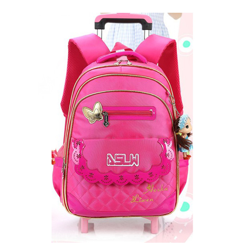 Winter Autumn Girl's Wheeled Student Schoolbag Cute Bow Girls Backpack Trolley Bag Travel Bags Girls School Bags Nylon Satchel 6 wheels high quality girls trolley backpack schoolbag wheeled bags for children trolley school bag boys detachable backpack
