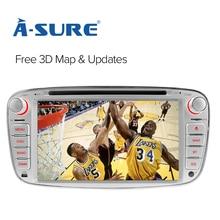 A-Sure 7″ Car Radio Player GPS for Ford Mondeo Focus Galaxy S-Max C-Max Kuga Rear USB Port & Dual TF SD Card DAB+ RDS car radio