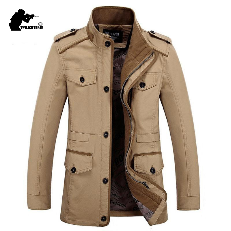 New Men's Casual Jacket Stand Collar Spring Autumn Fashion Washed Cotton Plus Size Long Jacket Coat Men Outwear 6XL BF5806