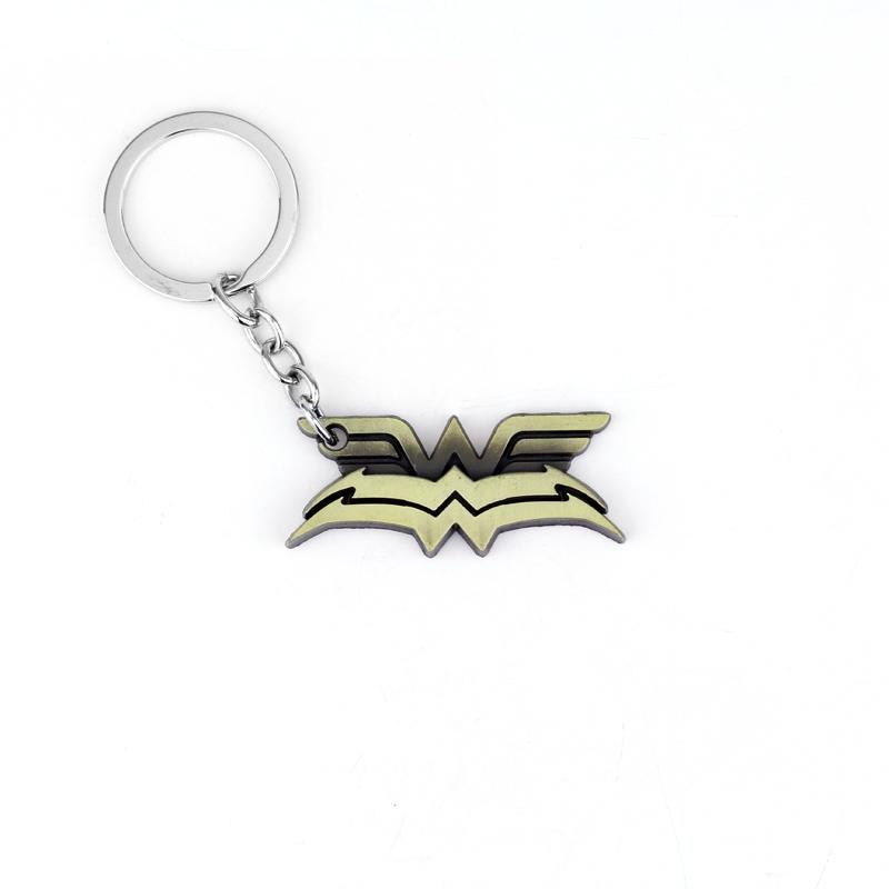 MQCHUN Movie Seies DC Comics Wonder Woman Keychain Double Deck Logo 3D Metal Metal Keyring Women Girls Party Accessories
