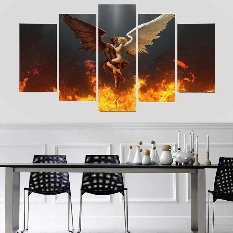 5 piece canvas painting fantastic Angel Devil Fire Wreath Wings Canvas picture room decor print poster wall art