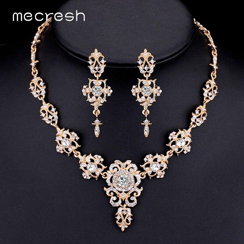 Mecresh Rhinestone Flower Conjuntos de joyería nupcial para mujer - Bisutería - foto 6