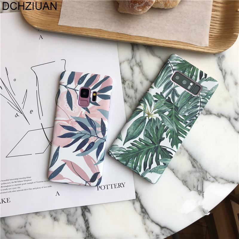 DCHZIUAN Plants Leaf Case For Samsung Galaxy S9 S8 Plus NOTE 8 Fashion Hard PC Phone Cover For Coque Samsung Galaxy S8 S9 Case