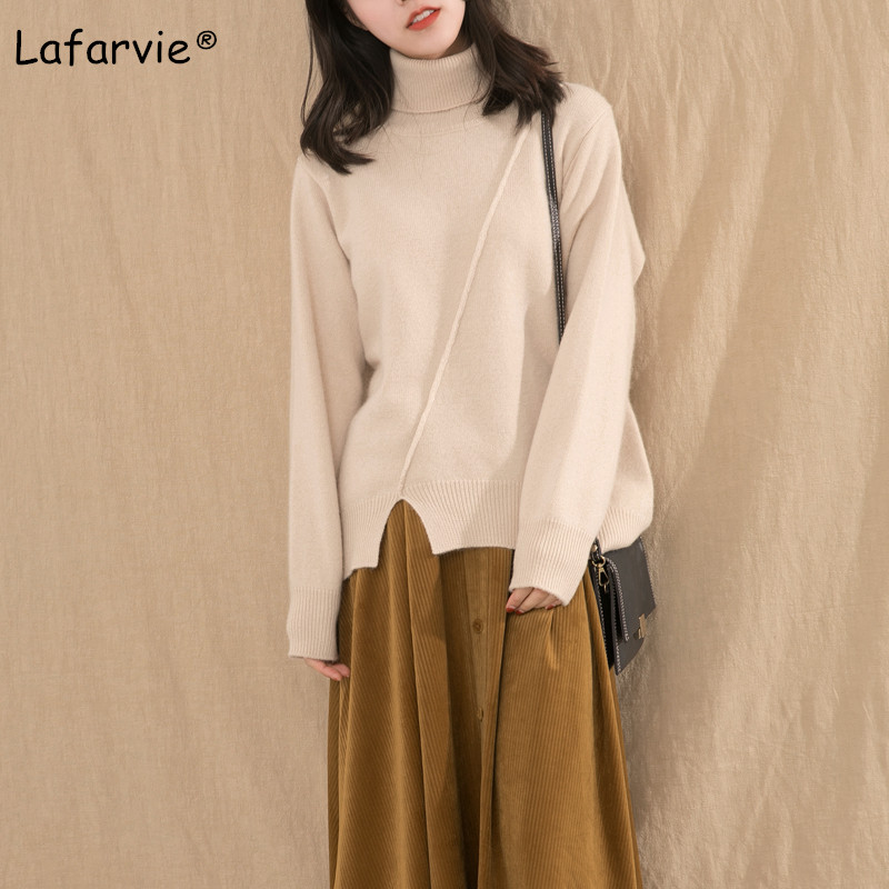 Lafarvie Turtleneck Thick Knitted Cashmere Sweater Women Split Pullover Female Autumn Winter Casual Warm Loose Knitting Jumper in Pullovers from Women 39 s Clothing