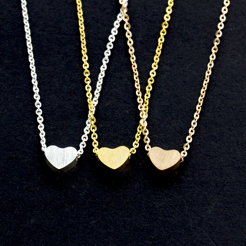 2018 <font><b>BFF</b></font> Jewelry Stainless Steel Chain Choker Necklaces Women Rose Gold <font><b>Ketting</b></font> Dainty Tiny Heart Shaped Necklaces Pendants image