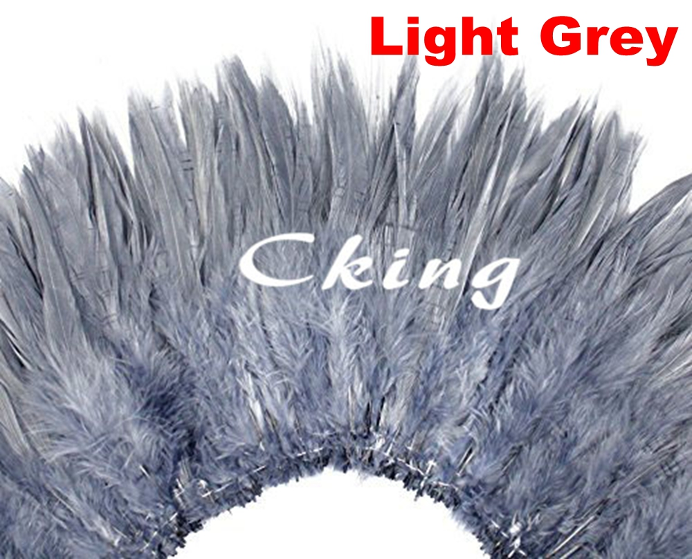 6 8 inch Handwork Premium Quality Light Grey Strung Chinese Rooster Saddle Feathers Trim For Costume Decoration 1kgs/lot