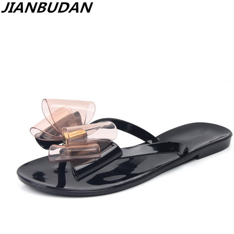 JIANBUDAN 2018 summer new toe bow flat with cool slippers women's beach shoes women flip flops Jelly shoes 36-40 cut out open back chains club dress