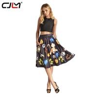 CJLM Pocket Rokken Bruin Meisjes 3d Gedrukt Bladeren Boom Vintage Plooirok Casual Elegante Hoge Taille Midi Rokken Voor Vrouwen Saia