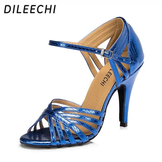 new style dbcd8 5b26e US $20.63 17% di SCONTO|DILEECHI femmina blu oro rosso PU scarpe da ballo  Latino scarpe col tacco alto 10 cm moderne scarpe da ballo in DILEECHI ...