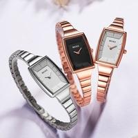 Women's Stainless Steel Watches Simple Fashion Luxury Brand Rectangular Dial Quartz Watch Ladies Dress Watch relogio feminino