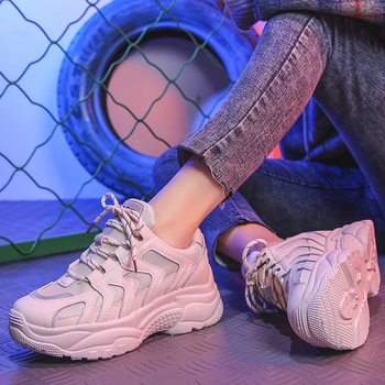 Women Shoes Breathable Chunky Sneakers White Dad Shoes Female Platform Vulcanize Shoes Casual Krasovki Chaussures Femme Basket