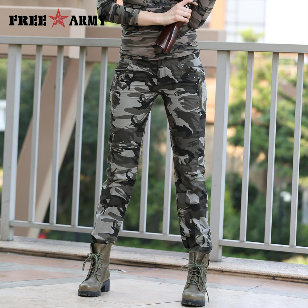 9263b4314cb01 Women Casual Pants Summer Plus Size Jogger Pants Military Camouflage ...