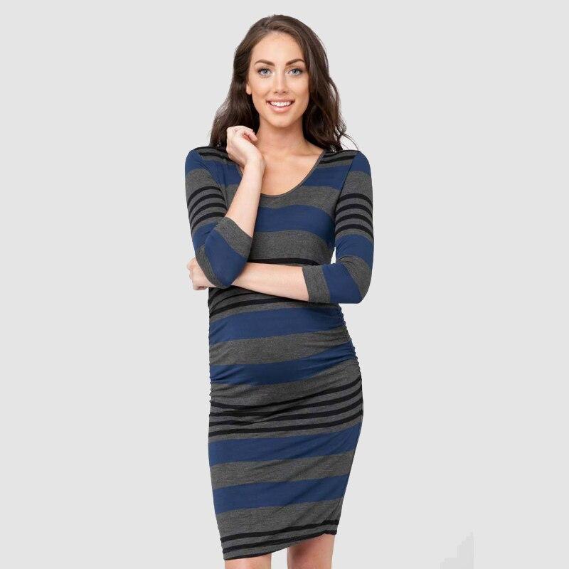 Maternity Clothes Pregnancy Dress Keen Length Striped Dress Pregnant Women Vestidos S-2XL Plus Size