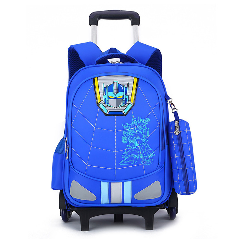 ФОТО Cartoon trolley school bag for teenager waterproof Schoolbags for boys backpack with 2/6 wheels blue wheeled bag kids book bags