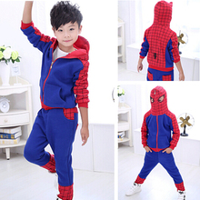 2015 Hot Boys Spider Man Clothes 2pcs Sets Hoodie+Pants Kids Children Autumn Cotton Spiderman Suit Baby Casual Wear Roupa