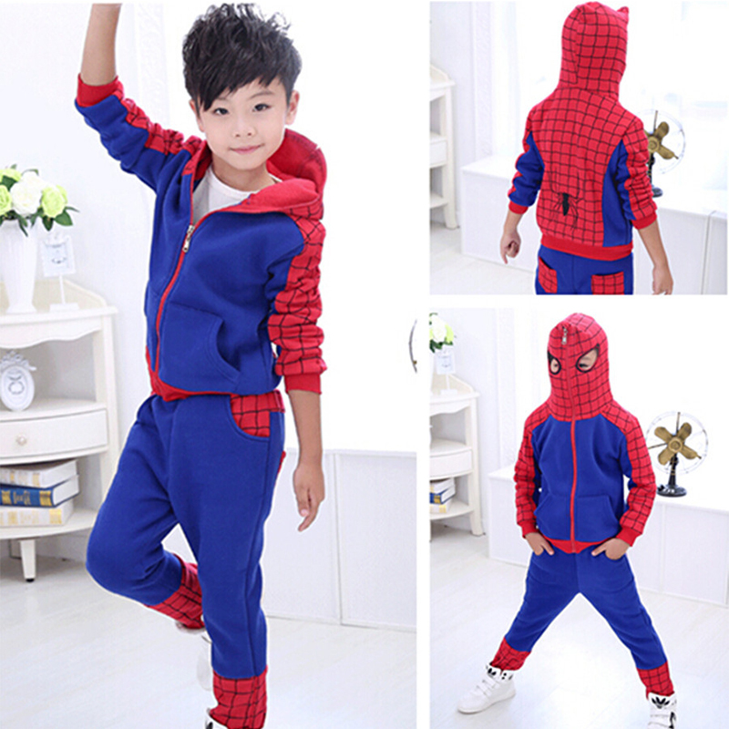 2017 Hot Boys Spider Man Clothes Sets Hoodie+Pants Kids Children Autumn Cotton Spiderman Suit Baby Casual Wear Roupa - Yiwu Rex Guo's store