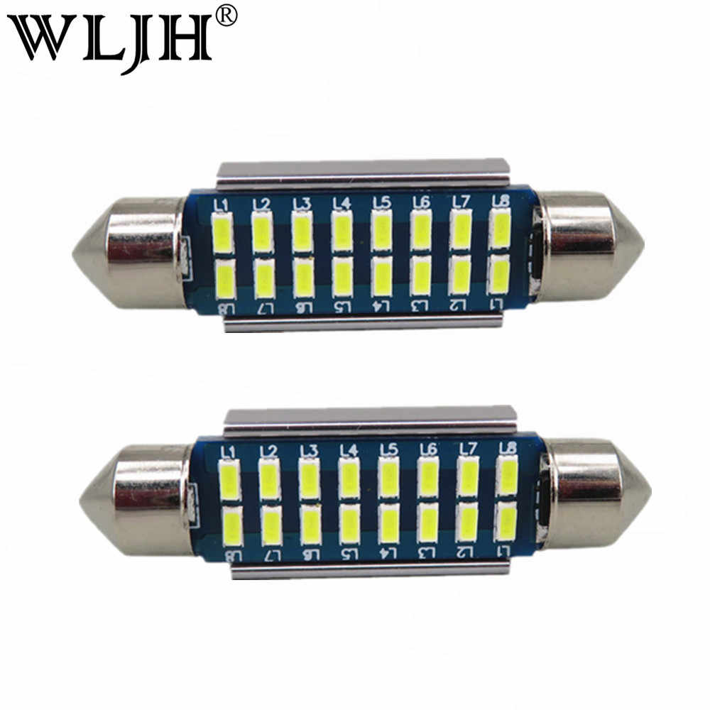 WLJH 2x Canbus Led Festoon 31mm 36mm 39mm 42mm SV8,5 C10W C5W Led 3014 SMD 12V Lamp Lighting Car Dome Bulb License Plate Lights