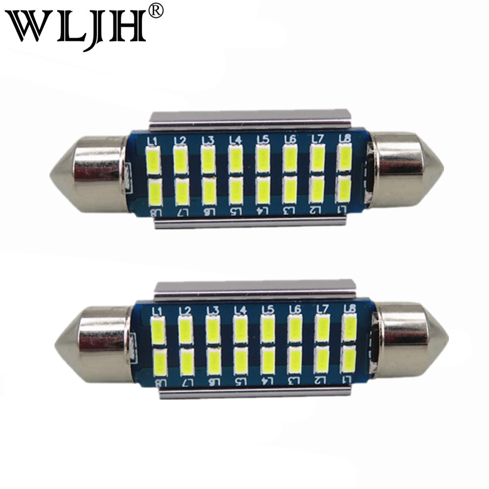 WLJH 2x Canbus Led Festoon 31mm 36mm 39mm 42mm SV8,5 C10W C5W Led 3014 SMD 12V Lamp Lighting Car Dome Bulb numbrimärgi tuled