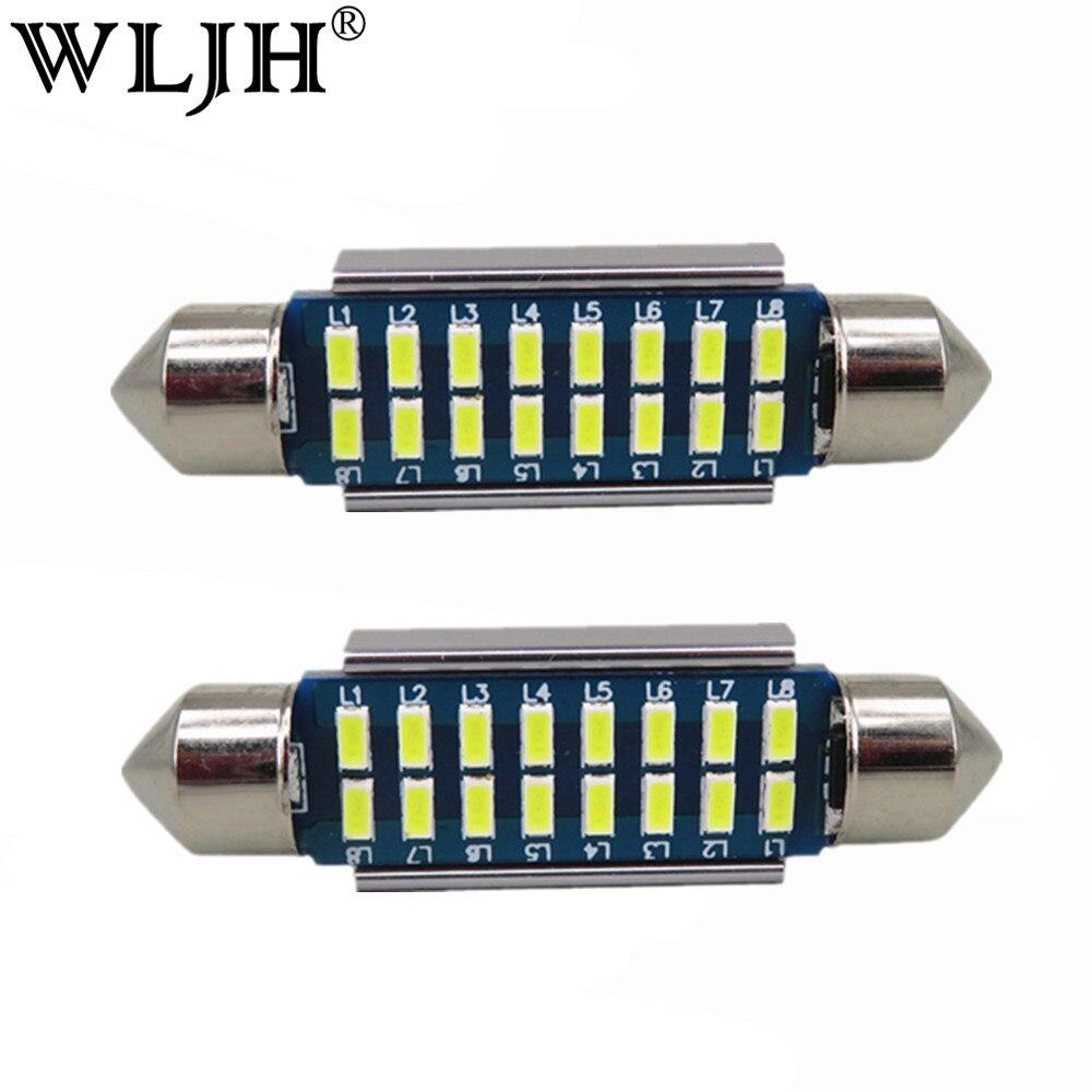 Wljh 2X <font><b>Canbus</b></font> Светодиодная гирлянда 31 мм 36 мм 39 мм 42 мм SV8, 5 C10W C5W <font><b>LED</b></font> 3014 SMD 12 В лампа Освещение автомобиля купола лампы Подсветка регистрационного ном&#8230;